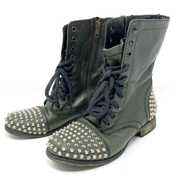 Steve Madden Tarney Studded Combat Boots with Lace